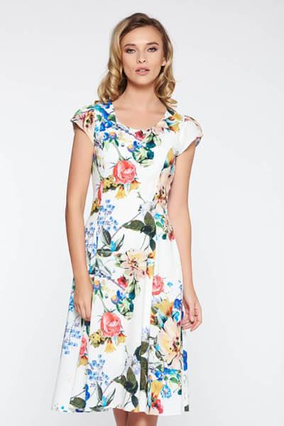 Rochie alba eleganta din material usor elastic captusita pe interior cu imprimeuri florale