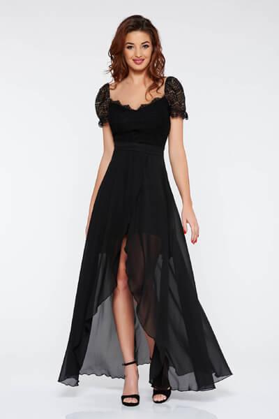 Rochie neagra de ocazie asimetrica din voal din dantela captusita pe interior