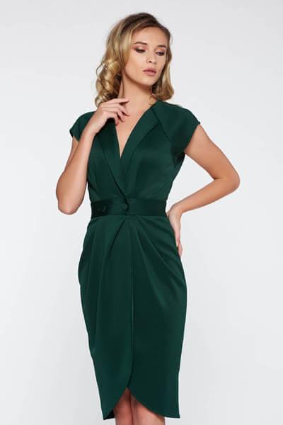 Rochie StarShinerS verde-inchis eleganta cu un croi mulat din material fin la atingere cu decolteu in v