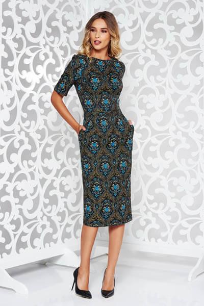 Rochie StarShinerS albastra eleganta din jaquard cu maneci scurte cu buzunare