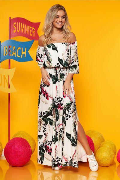 Rochie SunShine alba rochii maxi de zi in clos cu elastic in talie maneci largi cu imprimeu floral