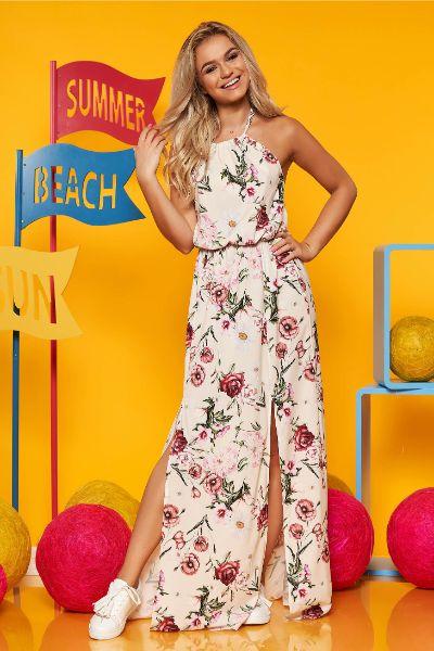 Rochie SunShine crem lunga din voal cu imprimeu floral cu elastic in talie se leaga dupa gat