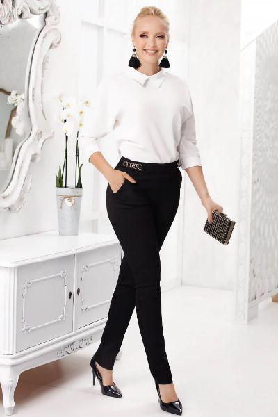 Pantaloni Fofy negri office conici cu talie medie din bumbac usor elastic cu accesoriu metalic