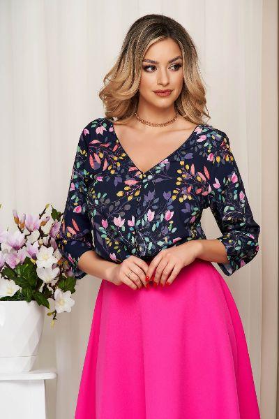 Bluza dama StarShinerS albastru-inchis cu imprimeu floral decolteu in