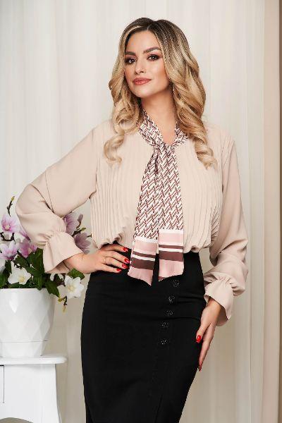 Bluza dama SunShine crem office cu croi larg plisata cu guler tip esarfa