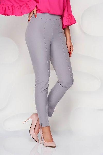 Pantaloni StarShinerS gri office conici din material usor elastic cu talie inalta