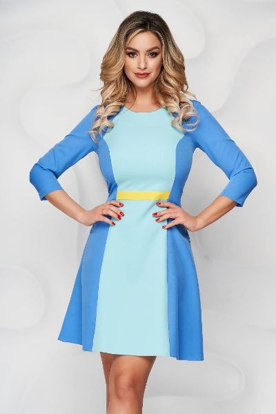 Rochie StarShinerS albastra scurta din stofa cu croi in a si decolteu rotunjit