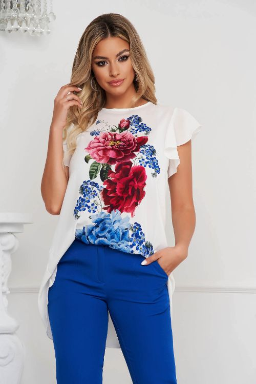 Bluza dama StarShinerS din voal lunga asimetrica cu croi larg si imprimeu floral unic